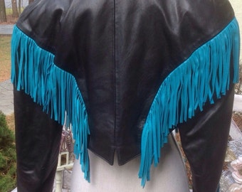 Fringe North Beach Leather Jacket by Michael Hoban Rare made for Cher- Never Used - With Tags