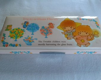 Vintage sanrio little twin stars pencil case box made in japan + an unused 1976 pencil