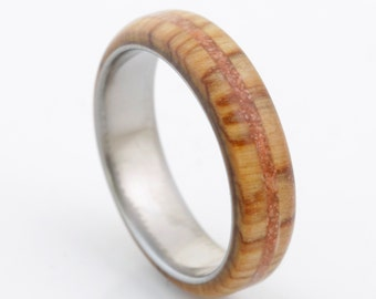 wood wedding band with olive wood and coral titanium wood ring man wedding band engagement wood ring