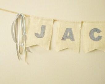 Cream Burlap Banner, Ribbons, Custom Colors, Any Phrase, Ivory Burlap, Name Sign, Wedding, Birthday Party, Holidays, Celebrations, Party