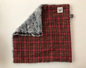 Mini Lovey Blanket in Christmas Plaid Flannel and Charcoal Faux Fur Minky