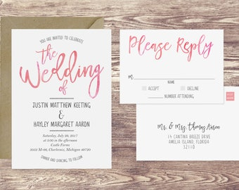 Watercolor Wedding Invitation & RSVP Postcard, Blush Pink Wedding Invitation, Pink Watercolor Wedding Invite, Customized Wedding Invite