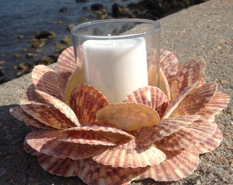 Shell Wreath With Candle - Beach Decor (CW037)