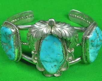 Vintage Navajo Native American Indian Sterling Silver Blue Stone Bracelet Cuff