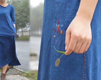 516---Women's Plant Dyed Knit Dress, with Hand Embroidery. Long Sleeve Indigo Dye Tunic.