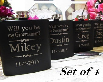 4 Groomsman Invitation Flask Set // Will You Be My Groomsman?  Will You Be My Bridesmaid??  Will You Be My Officiant // 4 Personalized Flask