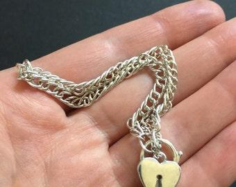 Vintage Sterling Silver Heart Padlock Bracelet