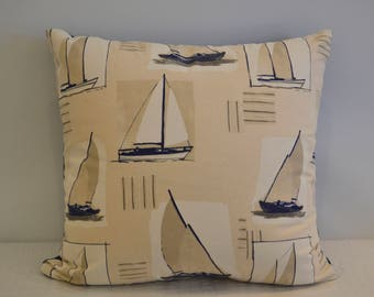 Cotton Sailboat Print Pillow COVER ONLY