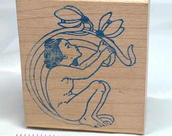 Art Nouveau Child rubber stamp, vintage Rubber Stamp, People Stamp, Child Stamp, Art Nouveau Stamp,  Renaissance Stamp, Art Journal Stamp