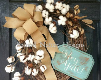 Made to Order Distressed Cotton Boll Wreath / Rustic Cotton Grapevine Wreath / Summer Cotton Wreath / Hey Y'all Wreath