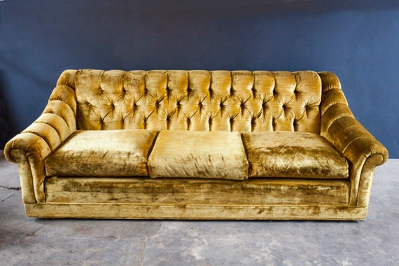 Mid Century Vintage Gold Velvet Tufted Sofa Couch
