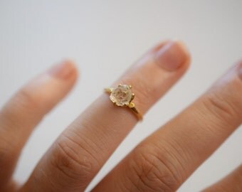 Size 4 14k Gold Diamond Ring, Raw Diamond Engagement Ring, Solid Gold Engagement Ring, Rough Diamond Ring, Raw Diamond, Avello, Graduation