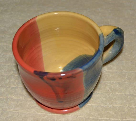 Mug, 16 OZ, Coffee Cup, Tea Cup, Cocoa Mug, Yellow, Red, Blue, Stoneware, Ceramic Mug, Kitchen, Drinks,