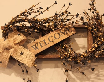 Tobacco Lath Mini Ladder with Berries, Grapevine, Welcome Sign and Burlap Bow