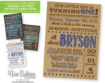 1st Year Stats, Brithday Party INVITATION. All About Baby, first year facts. Personalized PRINTABLE PDF. Choose your color