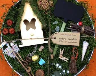Fairy garden kit with container, DIY, Yellow, Turquoise or Pink Butterfly fairy house, weathered galvanized washtub
