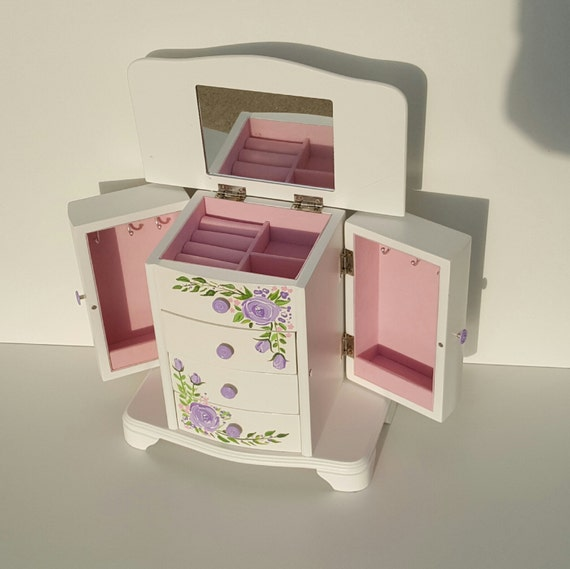 Large jewelry box lavender roses bohemian roses jewelry for Girls large jewelry box
