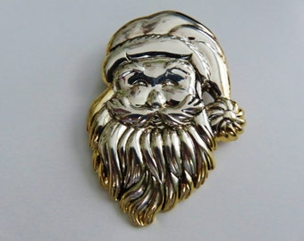 Large Smiling Two Tone Santa Clause Brooch Pendant Combo