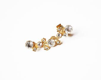 Gold Crystals Ear Cuff Earring - 1 PC