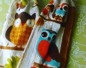 Set of 2 Kitchen Tea Towel with crochet top