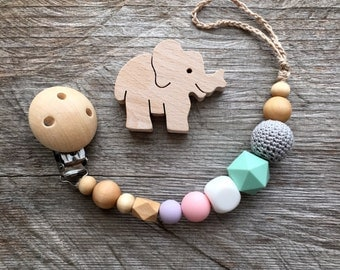 Wooden Pacifier Clip silicone dummy clip crochet speenkoord holder Eco Friendly Baby Pacifier Clip Baby Shower Dummy Chain paci chain