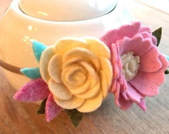 Felt flower baby toddler headband, flower crown, photo prop