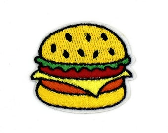 "2"" KAWAII HAMBURGER Embroidered iron on patch sew patch fast food"