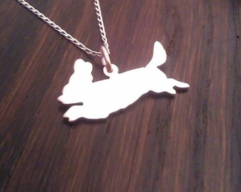 Cavalier King charles Spaniel Leaping Sterling Silver pendant