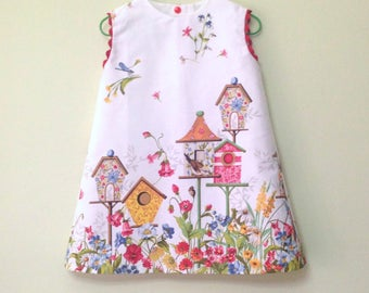 Girl dress, baby dress, birds and cages, japanese style, design Spain, summer dress, little birds, flowers and cages,
