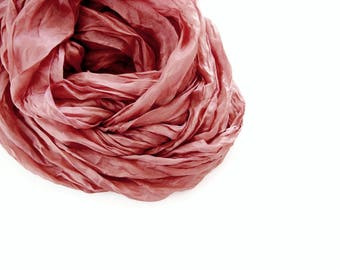 Naturally Dyed Silk Scarf, Dusty Rosy Terra Cotta, Madder Root Natural Dye, Silk Shawl, Long Scarf, Silk Wrap, Mens Womens Gift, Travel