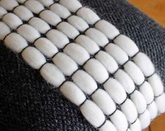 Woven Pillow, Pillow Cover, Modern Pillow, Black and White Pillow, Modern Decor, Handwoven Pillow, Decorative Pillow, Throw Pillow