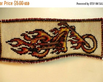 SALE HALF PRICE off Instant Download Beading Pattern Peyote Stitch Bracelet Flaming Harley Seed Bead Cuff