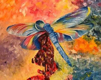 Dragonfly Fine Art Giclee Print on Canvas Wall Art Abstract Insect Wall Decor