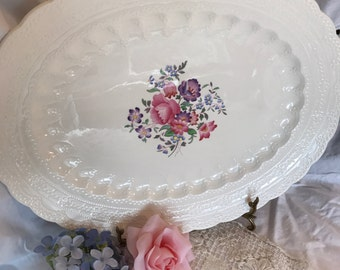"Antique LARGE Copeland Spode Jewel 17 inch Oval Platter- ""Claudia""- HTF"