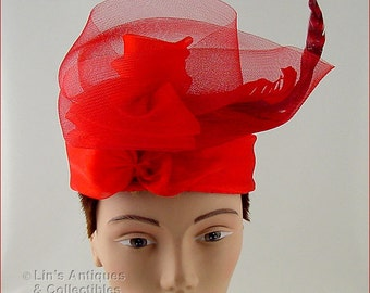 Beautiful Red Hat with Red Netting and Feathers (Inventory #HAT268)