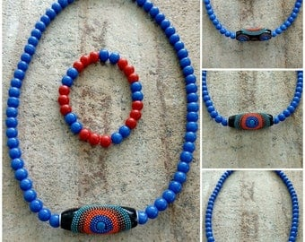 Colorful Beaded Clay Barrel Pendant And Matching Bracelet