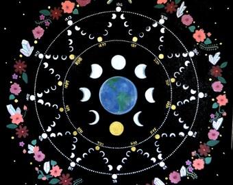 2017 Lunar Calendar Poster- Moon calendar/ Full Moon/