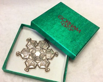 1987 Gorham sterling silver snowflake ornament. Free ship to US.