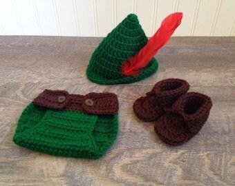 Newborn Crochet Robin Hood, Crochet Photo Prop, Preemie Newborn Photo Prop, Crochet Peter Pan, Baby Robin Hood Costume,