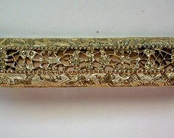 Gold Plated Brass Filigree Bar or Sash Pin - 5022