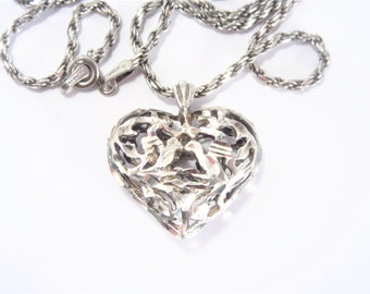 Vintage Sterling Filigree Puffy Heart Necklace 20 Inch Chain