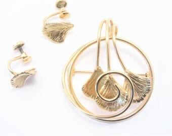 Vintage Rodell 12K Gold Filled Brooch Earrings Jewelry Set