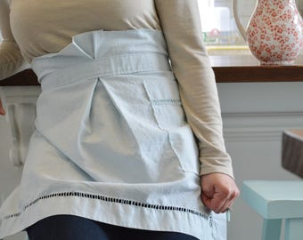Breakfast in Bed Apron - Light Blue Linen Half Apron, Women, Vintage, Plus Size
