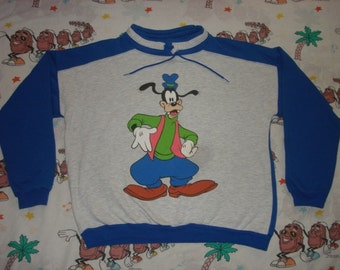 Vintage 80's Goofy two tone pullover Sweatshirt, size Medium drawstring adjustable Disney