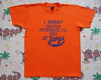 Vintage 80's I Spent Denver Super Bowl XXI at Zangs T shirt, size Medium 1987 Broncos bar tee beer