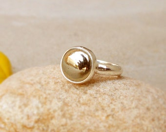 Pyrite Ring 925 Sterling Silver Ring Round Pyrite Ring Pyrite Golden Ring Minimalist Round Golden Pyrite Rings Cabochon Ring Bezel Set Ring