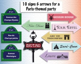 Paris theme party printables paris decor Instant download paris printable decoration paris party decorations paris poster arrows wall signs