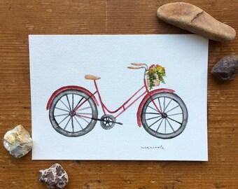 Red Bike - Original Watercolor Painting
