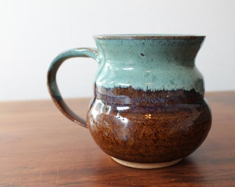 BLUE COFFEE MUG -  teal blue and rich brown handmade pottery, for coffee, tea, latte, espresso or anything else!