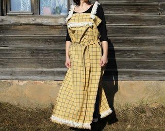 Women's Overalls,checkered smock, Skirt Overalls, yellow Overalls, artist smock, yellow Sarafan, smock with Pocket, artist overall, yellow